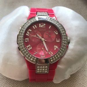 hot pink watch by Guess